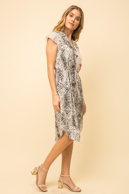 Mystree Snake + Floral Print Shirt Dress w/ Pullstring Waist