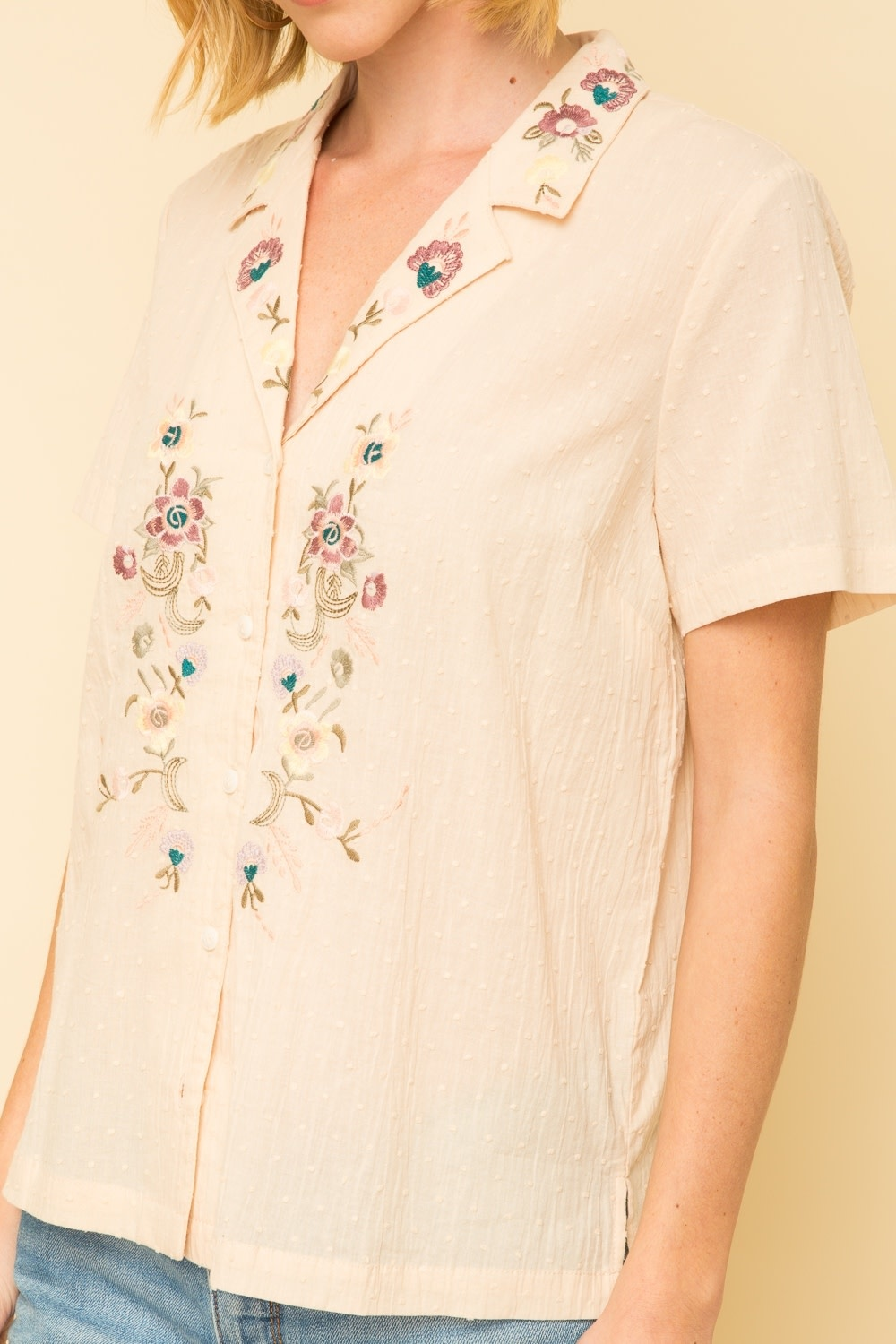Mystree Swiss Dot Embroidered Button Down Top