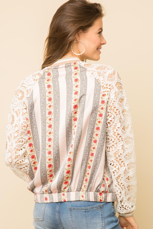Mystree Stripe Pattern Bomber Jacket with Lace Sleeve