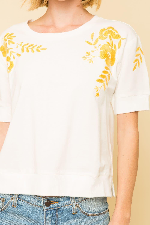Mystree Embroidered Short Sleeve Sweatshirt Top