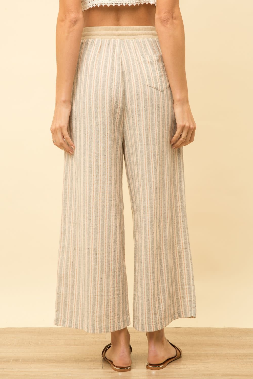 Mystree Striped Wide Leg Pant with Drawstring
