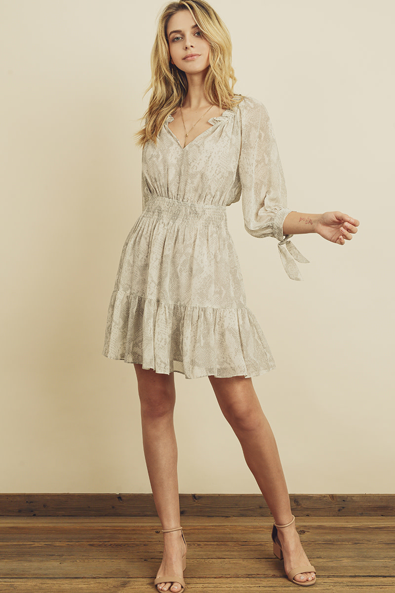 Dress Forum Snakeskin Print Smocked Waist Dress