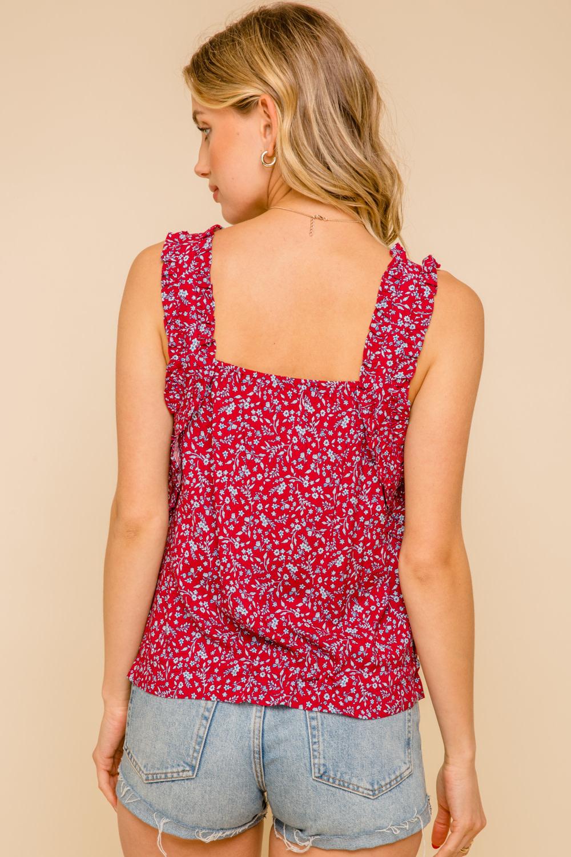 Hem & Thread Ruched Shoulder Floral Print Tank with Cinch Hem