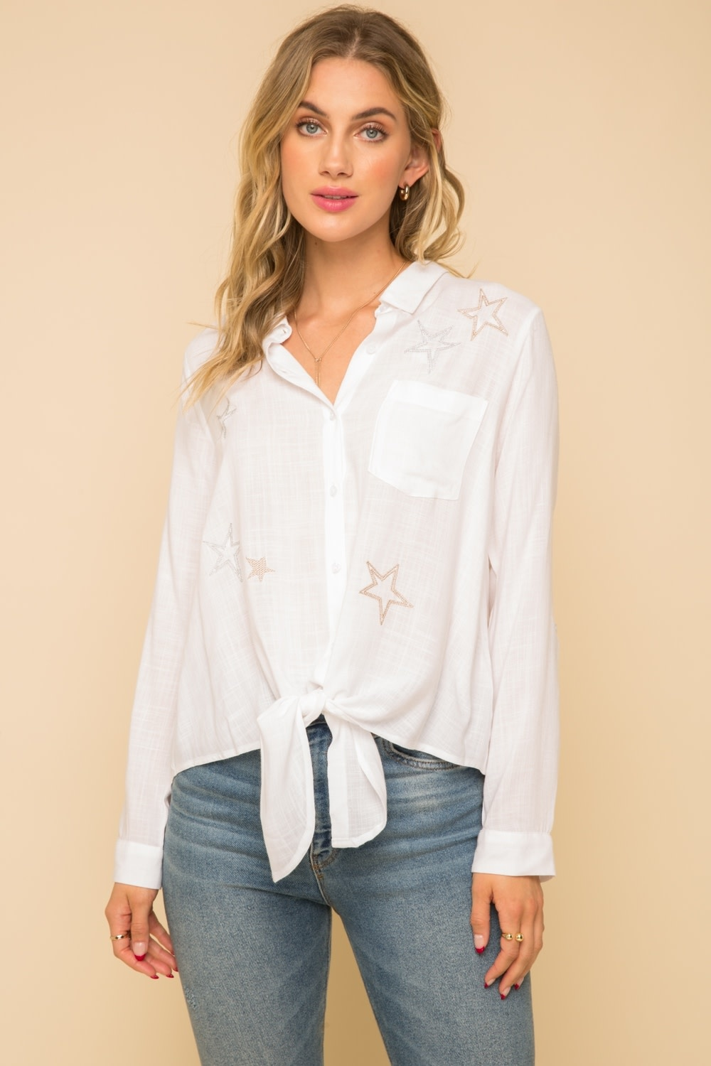 Hem & Thread Tie Front Button Down Top with Star Embroidery