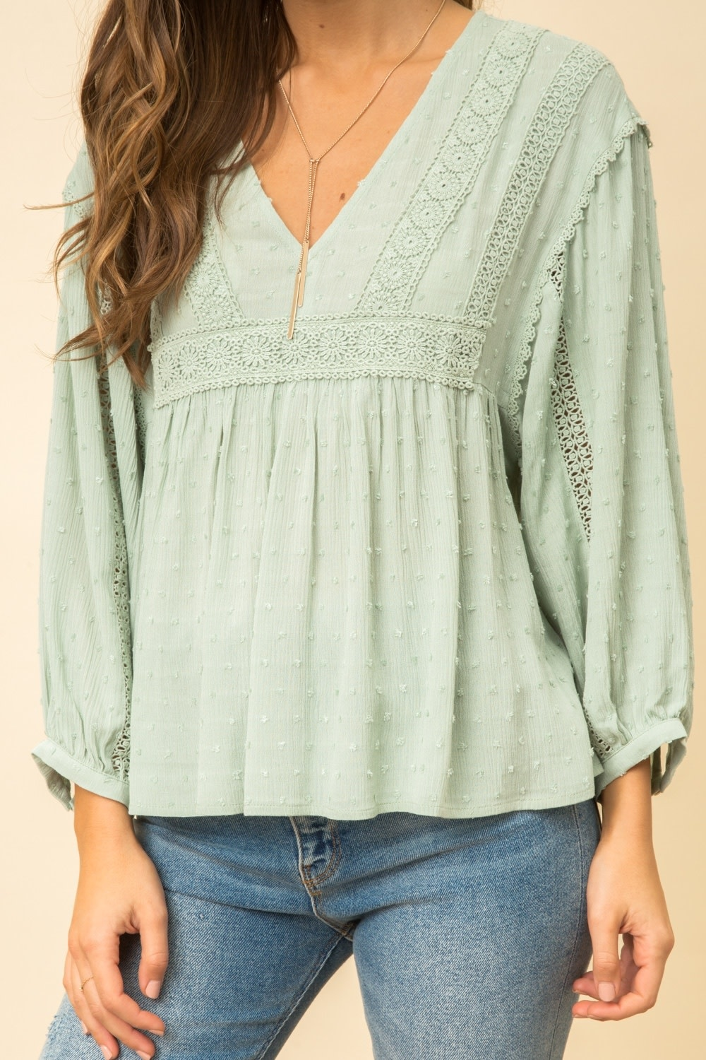 Hem & Thread Lace Trimmed Blouse with Swiss Dot Detail
