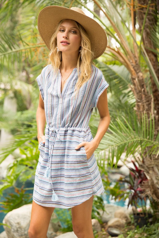 Hem & Thread Stripe Short Sleeve Dress with Drawstring Waist