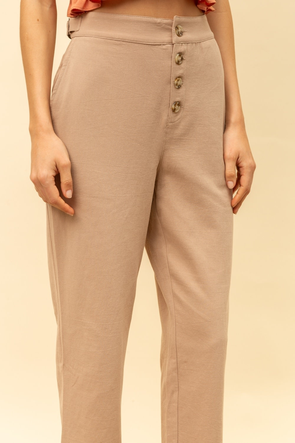 Hem & Thread Button Front Loose Fit Trousers with Side Buckles