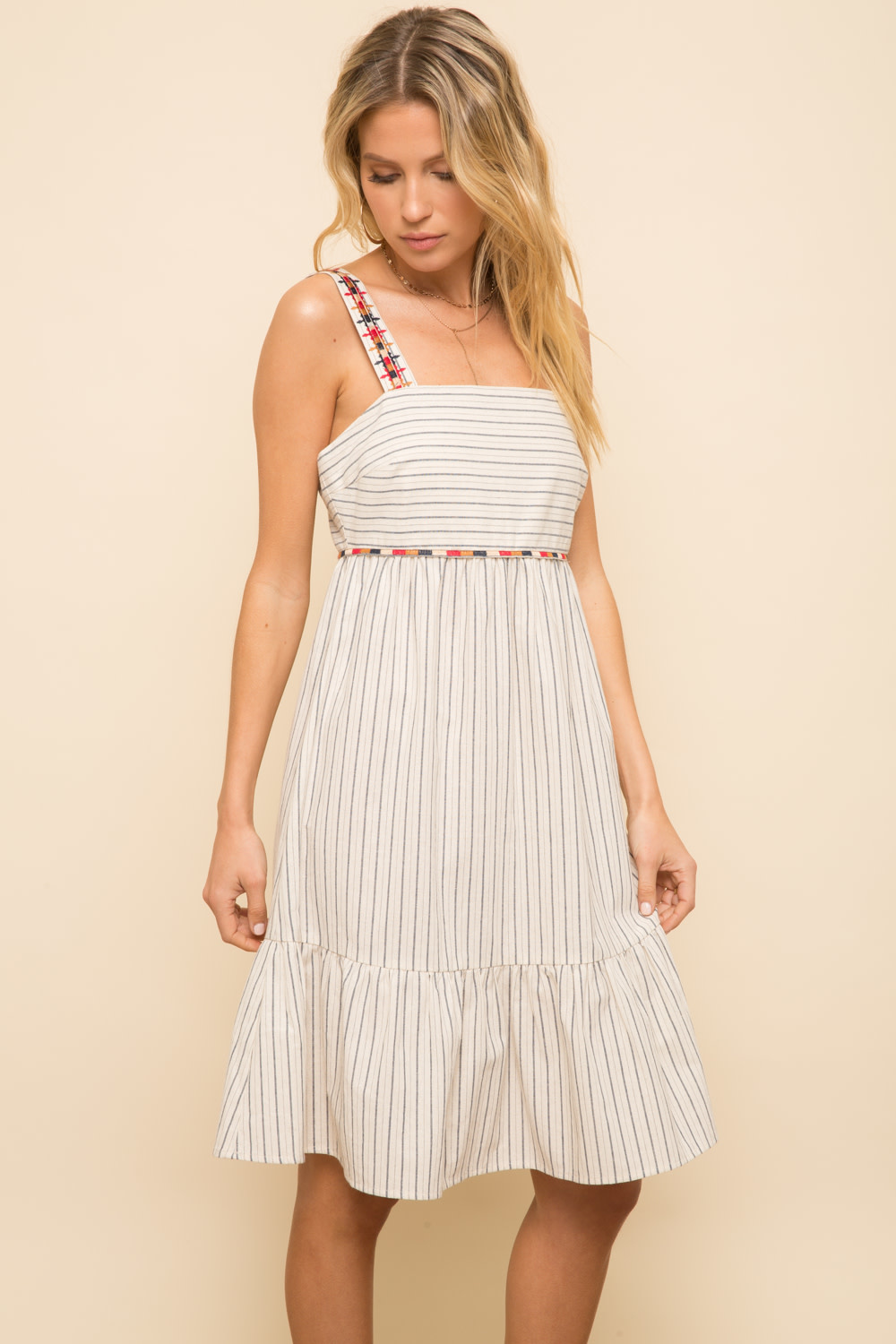 Hem & Thread Striped Embroidered Detail Sun Dress