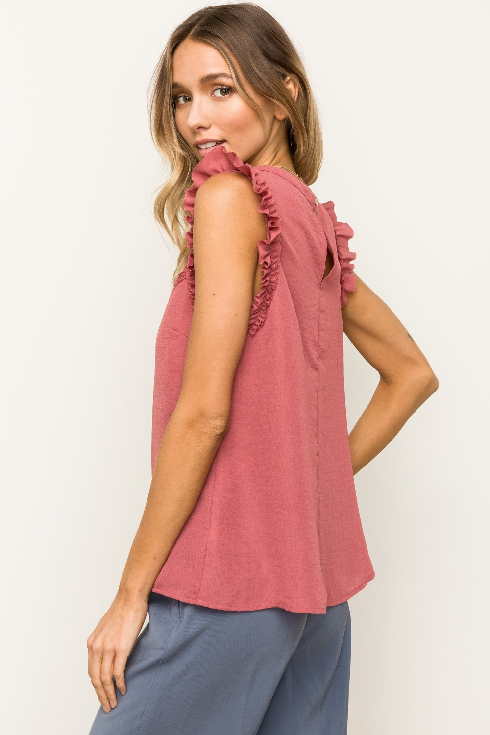 Hem & Thread Lace Insert Ruffle Detail Sleeveless Top