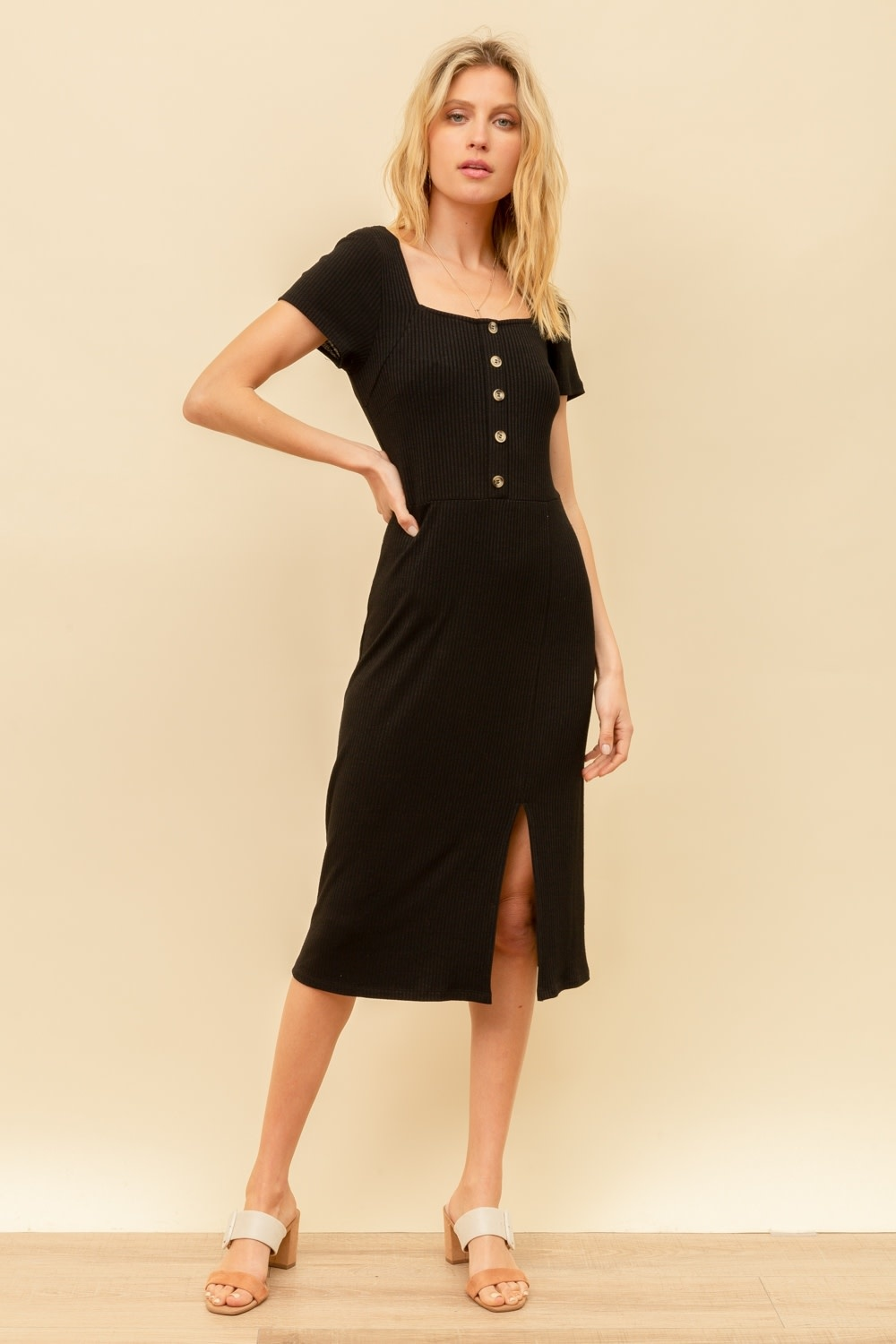 Hem & Thread Button Front Square Neck Ribbed Midi Dress