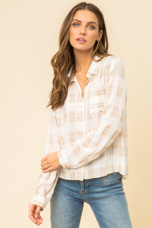 Hem & Thread Lace Back Plaid Button Up Shirt
