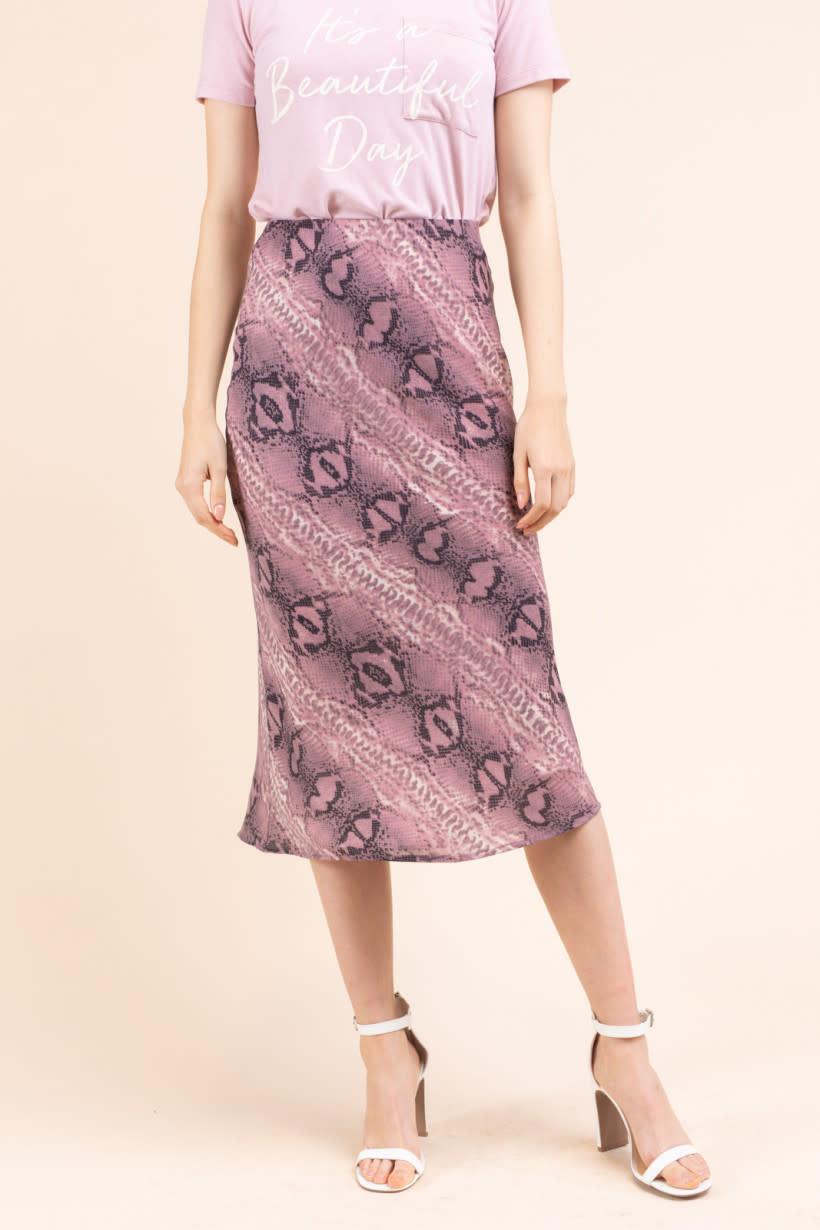 GILLI Snake Print Midi Skirt