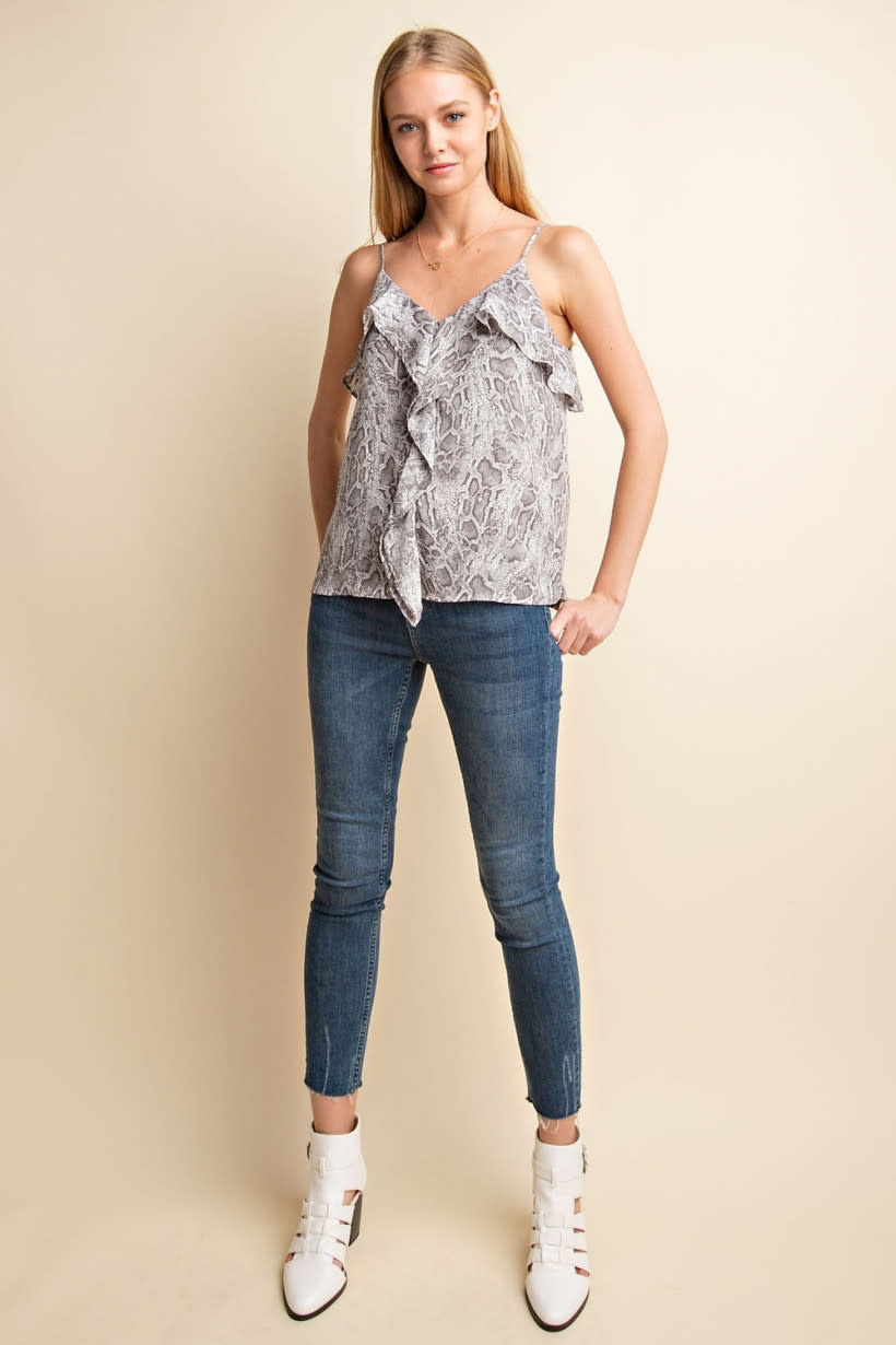 GILLI Snake Print Tank Top with Ruffle Front