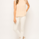 Mystree Pleated High Neck Top with Crochet Arm and Neck Detail