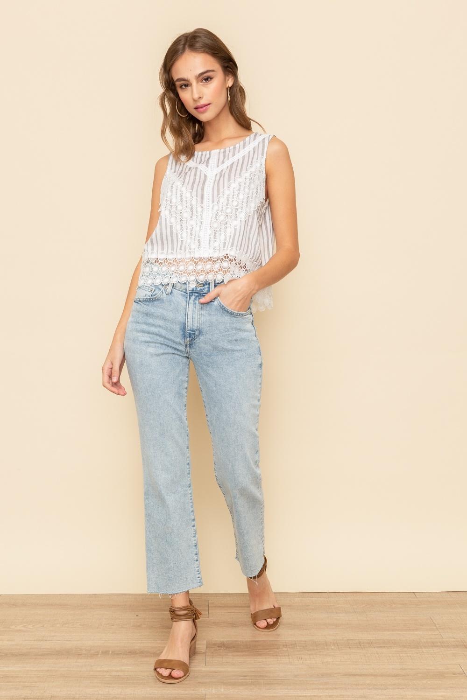Hem & Thread Crochet Lace Panel Striped Top