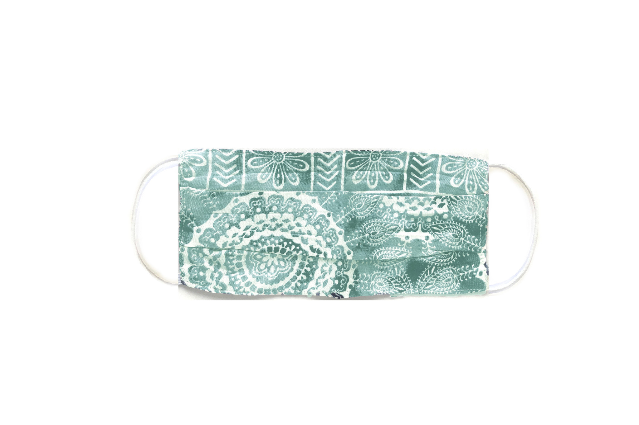 Lotus and Luna Pleated Printed Double Layer Repurposed Material Mask