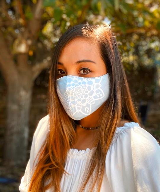 Lotus and Luna Printed Double Layer Repurposed Material Mask