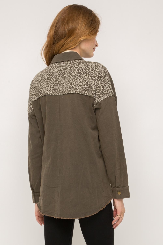 Mystree Leopard Print Double Pocket Jacket