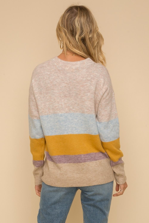 Hem & Thread Color Block Stripe Pullover Sweater