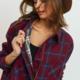 PAPER CRANE/LOVEMARKS Plaid Jacket w/ Raw Hem