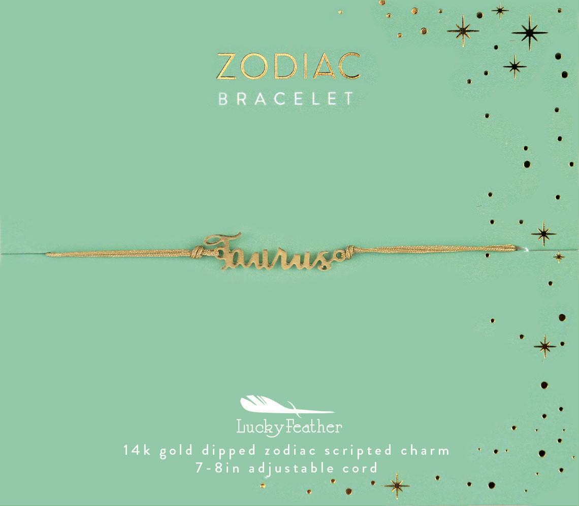 Lucky Feather Zodiac Script Cord Bracelet