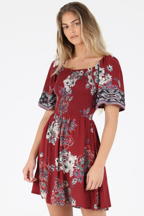 ANGIE Floral Printed Smocked Dress