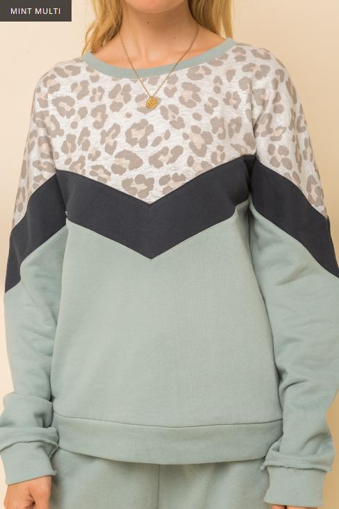 Hem & Thread Leopard Print Combo Sweatshirt