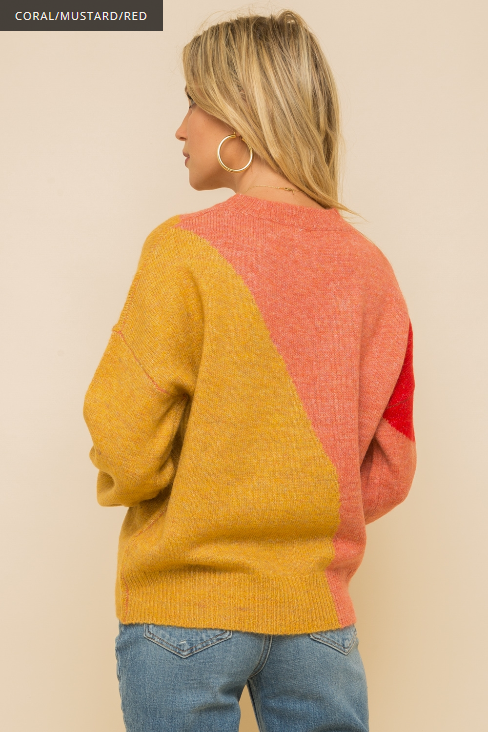 Hem & Thread Color Block Crew Neck Sweater