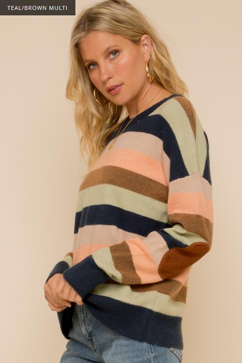 Hem & Thread Patch Sleeve Stripe Sweater