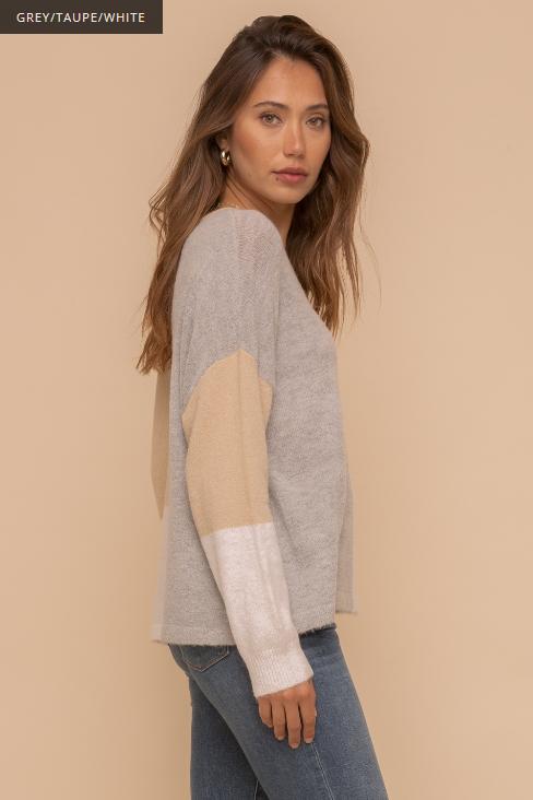 Hem & Thread Color Block Bulky Sweater
