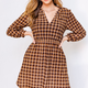 GILLI Plaid Ruched Waist Dress