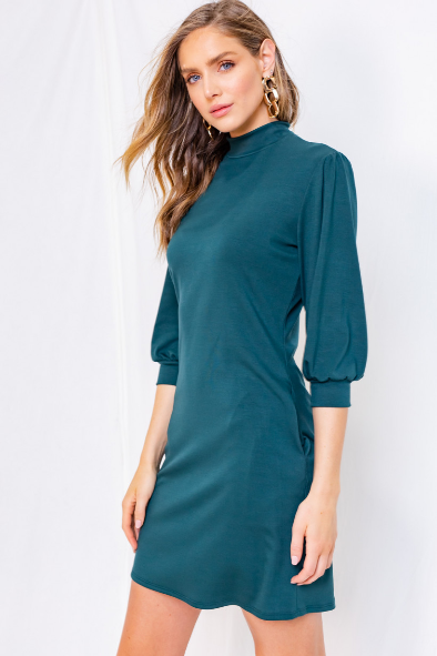 GILLI 3/4 Sleeve Mock Neck Dress