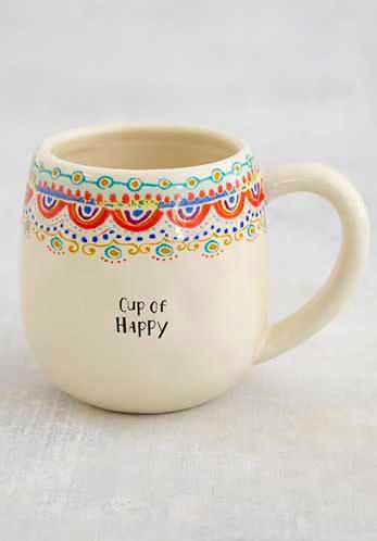 Natural Life Cup Of Happy- Borders Happy Mug