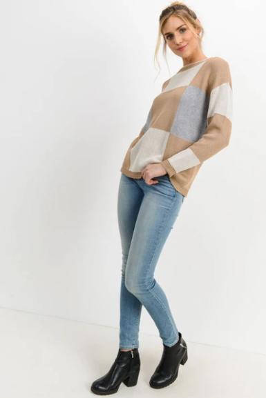 PAPER CRANE/LOVEMARKS Knit Checkered Sweater