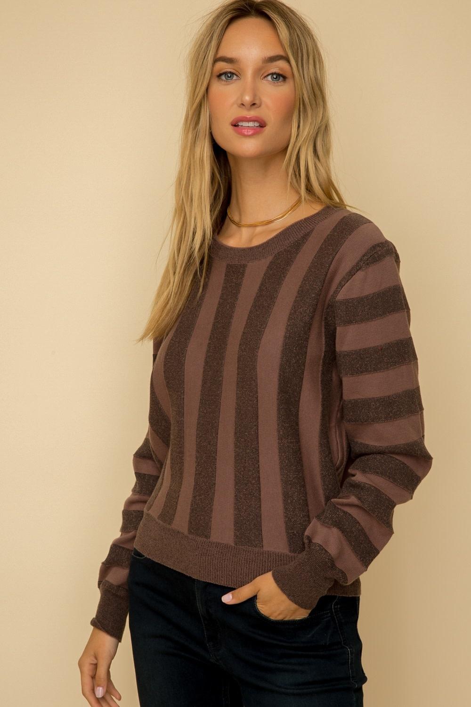 Hem & Thread Vertical Stripe Knit Top