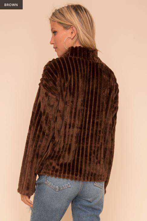 Hem & Thread Faux Fur Mock Neck Top