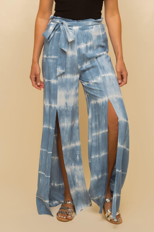 Hem & Thread Tie Dye Front Slit Pants