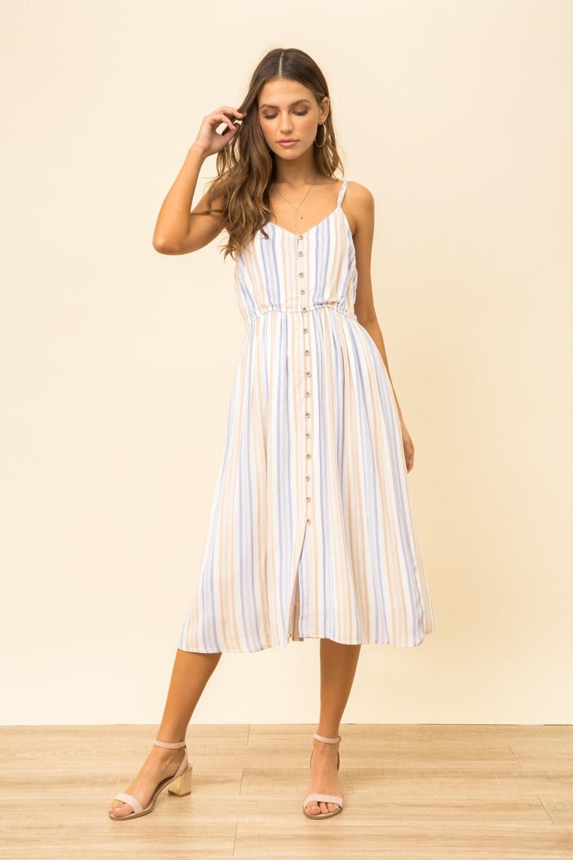 Hem & Thread Cross Back Striped Cami Dress