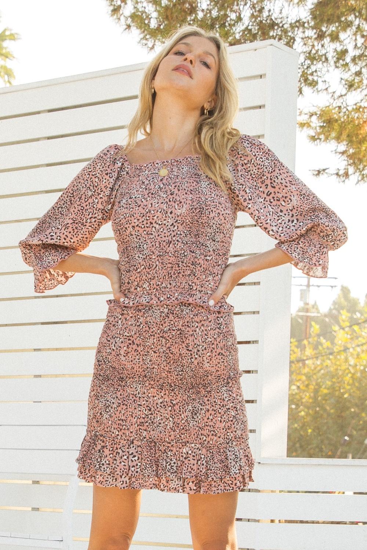 Hem & Thread Leopard Print Smocked Blouse