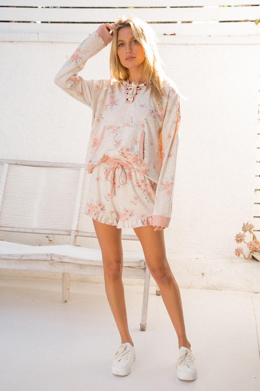 Hem & Thread Floral Print Shorts w/ Frill