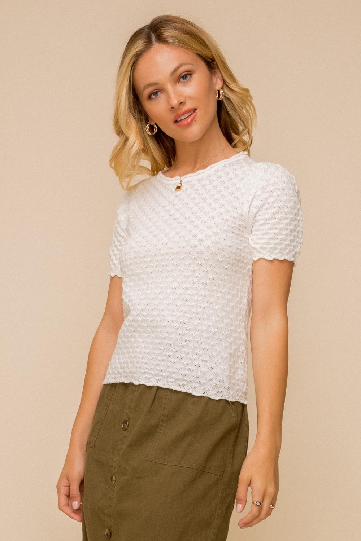 Hem & Thread Scallop Edge Sweater Top
