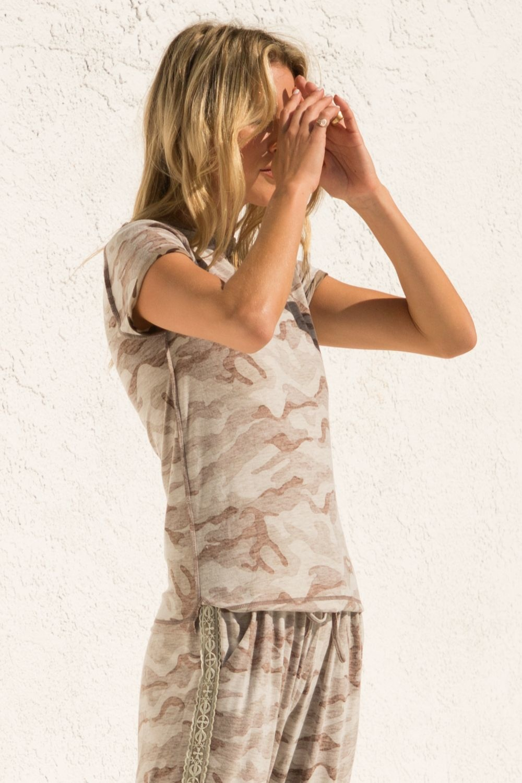 Hem & Thread Camo Short Sleeve Top