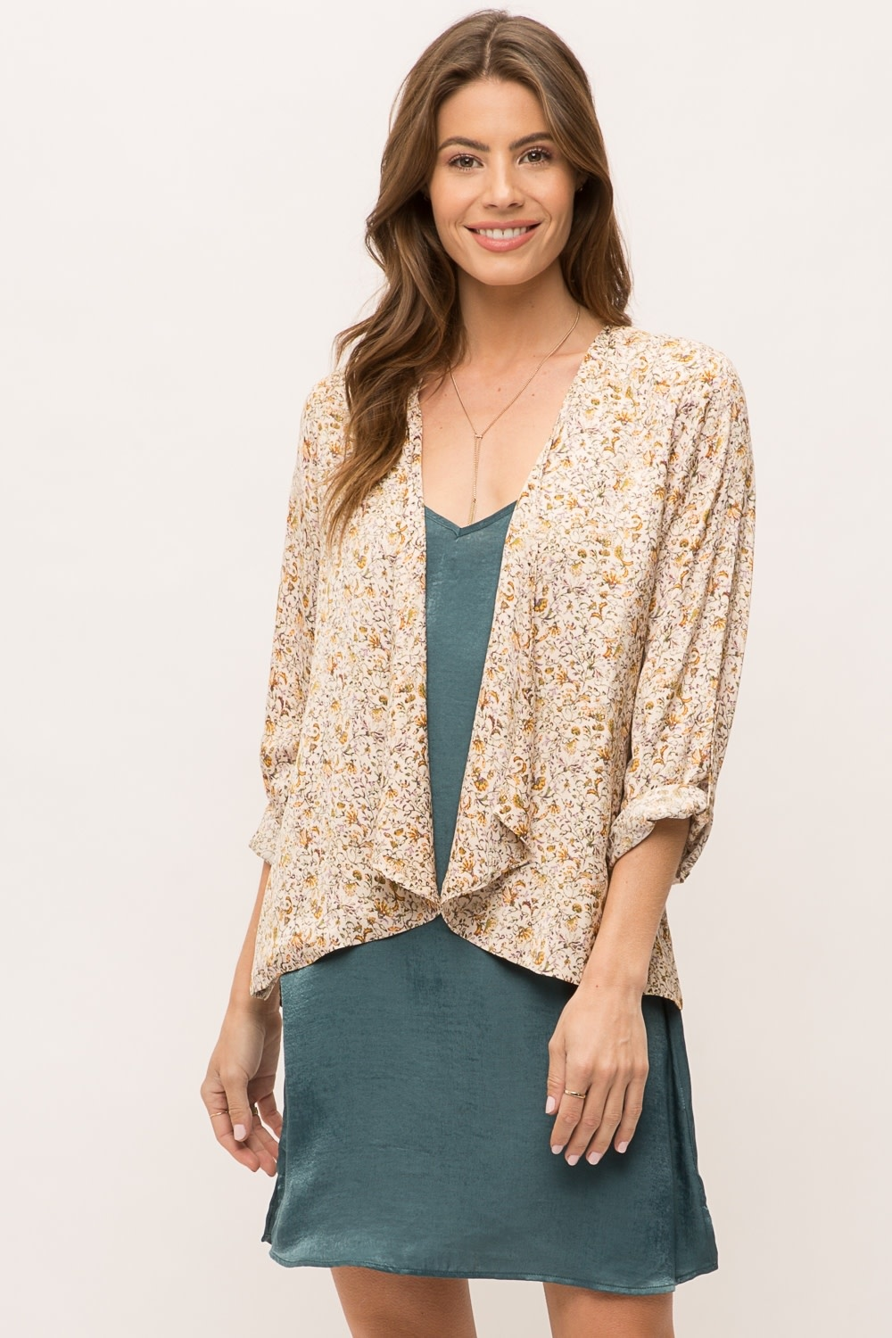 Mystree Ditsy Floral Open Cardigan