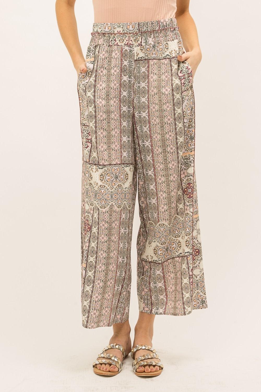 Mystree Patch Print Wide Leg Pants