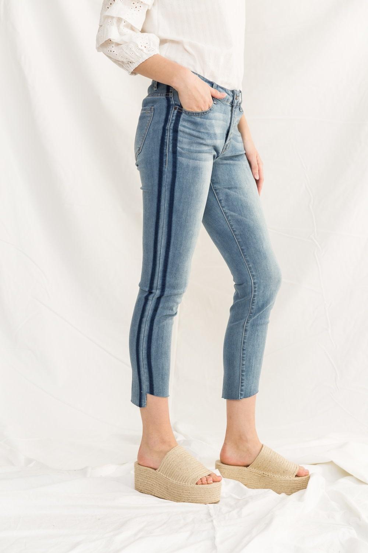 Mystree Side Stripe Skinny Jeans