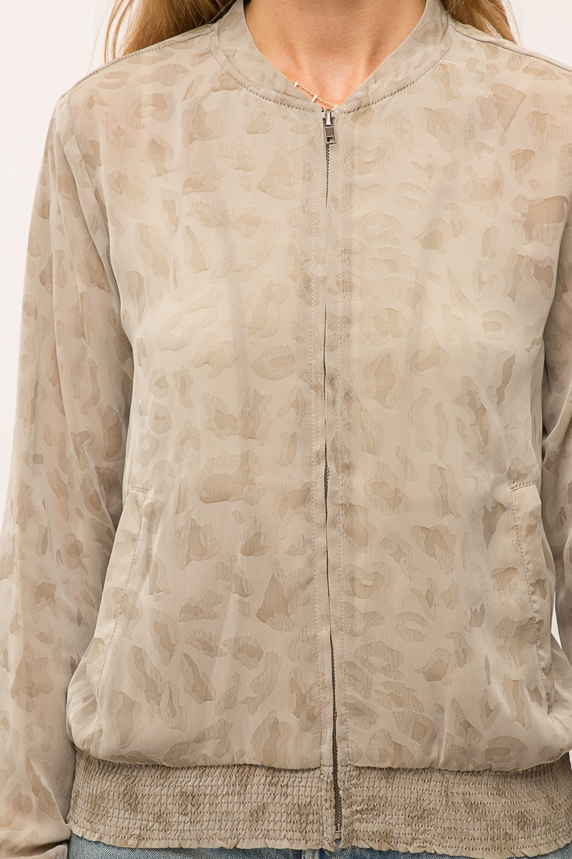 Mystree Leopard Print Sheer Bomber Jacket