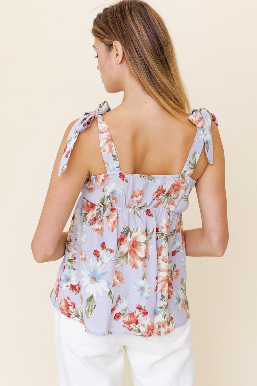 GILLI Floral Top w/ Tie Straps