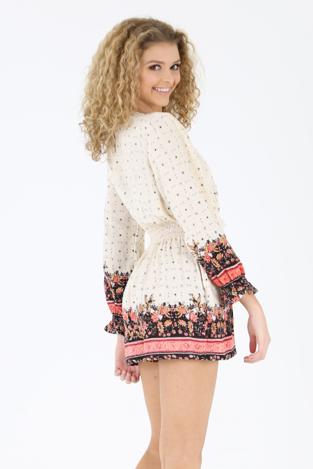 ANGIE Patterned Long Sleeve Lace Up Romper