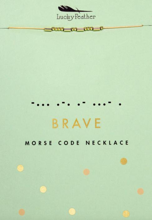 Lucky Feather Morse Code Necklace