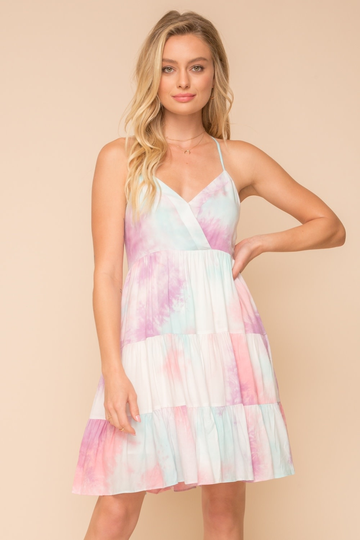 Hem & Thread Lattice Back Tie Dye Mini Dress